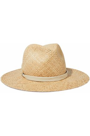 RAG & BONE Leather-trimmed straw Panama hat