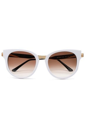WOMAN OVAL ACETATE AND GOLD-TONE SUNGLASSES WHITE