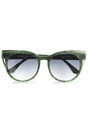 THIERRY LASRY Round-frame printed acetate and silver-tone sunglasses