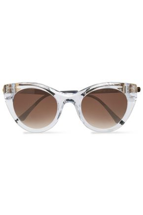 WOMAN CAT-EYE GOLD-TONE AND ACETATE SUNGLASSES GOLD