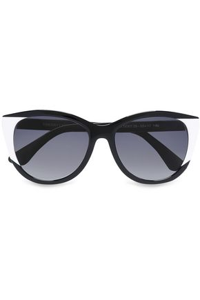WOMAN CAT-EYE TWO-TONE ACETATE SUNGLASSES BLACK