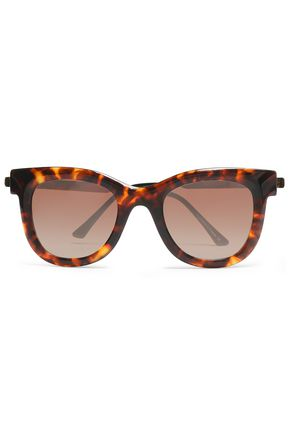 WOMAN SQUARE-FRAME TORTOISESHELL ACETATE SUNGLASSES DARK BROWN