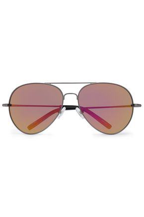 LINDA FARROW with MATTHEW WILLIAMSON Aviator-style gunmetal-tone mirrored sunglasses