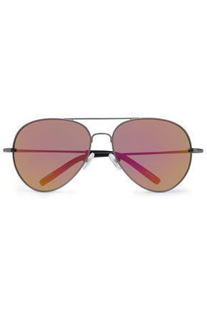 aviator-style-gunmetal-tone-mirrored-sunglasses by matthew-williamson