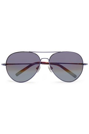 WOMAN AVIATOR-STYLE TORTOISESHELL ACETATE AND METAL SUNGLASSES VIOLET