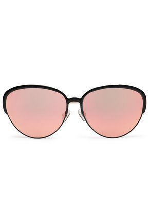 MATTHEW WILLIAMSON Oval-frame acetate and gold-tone mirrored sunglasses