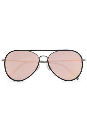 LINDA FARROW with MATTHEW WILLIAMSON Aviator-style gunmetal-tone and acetate sunglasses