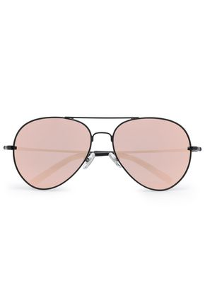 LINDA FARROW with MATTHEW WILLIAMSON Aviator-style acetate and metal mirrored sunglasses