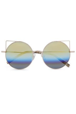 LINDA FARROW with MATTHEW WILLIAMSON Round-frame gold-tone mirrored sunglasses