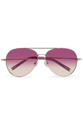 LINDA FARROW with MATTHEW WILLIAMSON Aviator gold-tone sunglasses
