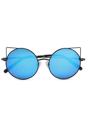 WOMAN ROUND-FRAME METAL MIRRORED SUNGLASSES BLACK