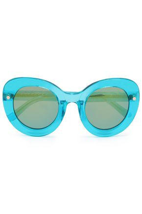 WOMAN ROUND-FRAME ACETATE SUNGLASSES TURQUOISE