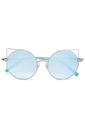 MATTHEW WILLIAMSON Round-frame silver-tone mirrored sunglasses