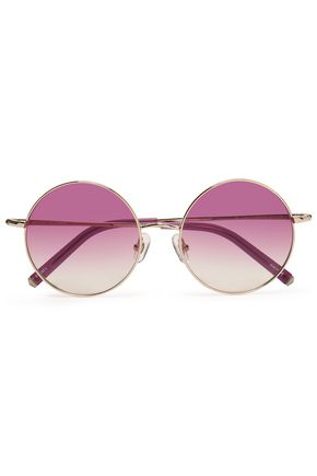 LINDA FARROW with MATTHEW WILLIAMSON Round-frame gold-tone sunglasses