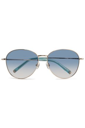 WOMAN AVIATOR-STYLE GOLD-TONE SUNGLASSES SILVER