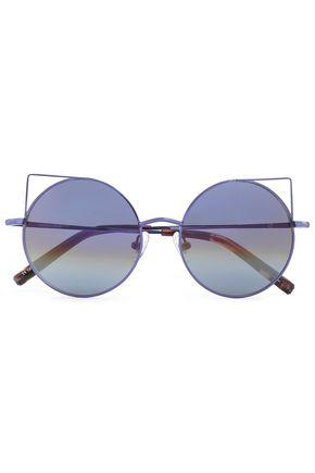 LINDA FARROW with MATTHEW WILLIAMSON Round-frame metal mirrored sunglasses