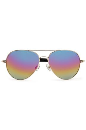 WOMAN AVIATOR-STYLE GOLD-TONE MIRRORED SUNGLASSES GOLD