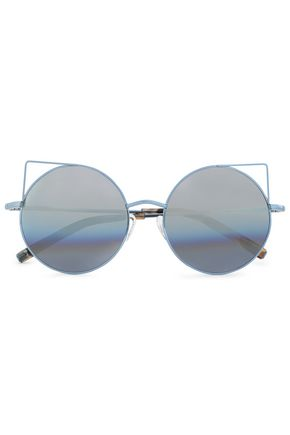 LINDA FARROW with MATTHEW WILLIAMSON Round-frame metal mirrored sunglasses