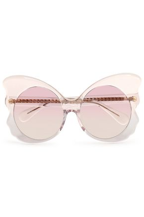 LINDA FARROW with MATTHEW WILLIAMSON Embellished butterfly-frame acetate sunglasses