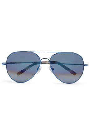 WOMAN AVIATOR-STYLE METAL MIRRORED SUNGLASSES BLUE