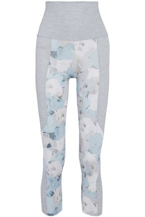 LIVE THE PROCESS Cropped paneled floral-print stretch leggings