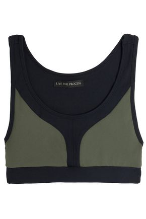 LIVE THE PROCESS Two-tone stretch sports bra