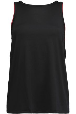 LIVE THE PROCESS Layered two-tone stretch-jersey tank