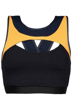 LIVE THE PROCESS Cutout two-tone stretch sports bra
