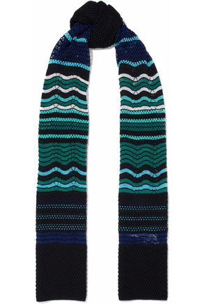 M MISSONI Crochet and pointelle-knit wool-blend scarf
