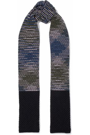 M MISSONI Two-tone lattice-trimmed crochet-knit wool scarf