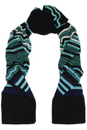 M MISSONI Open and crochet-knit wool-blend scarf