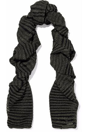 M MISSONI Metallic striped crochet-knit scarf