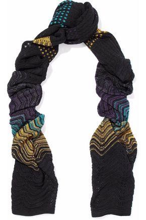 M MISSONI Pointelle-trimmed crochet-knit scarf