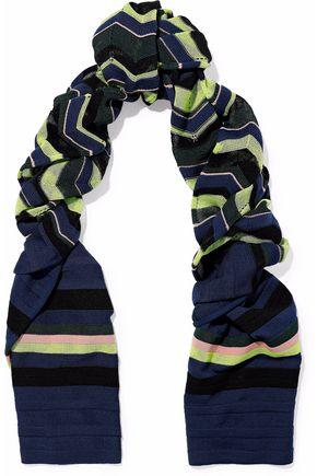 M MISSONI Printed crochet-knit wool-blend scarf