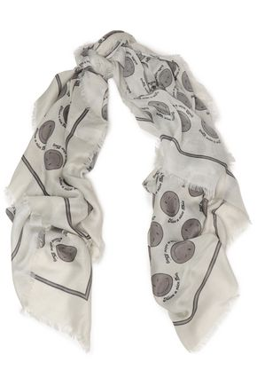 ANYA HINDMARCH Frayed printed twill scarf