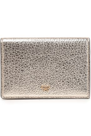 ANYA HINDMARCH Metallic cracked-leather cardholder