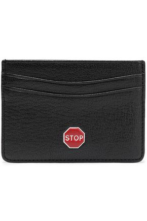 ANYA HINDMARCH Appliquéd textured-leather cardholder