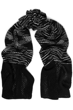M MISSONI Open and crochet-knit wool scarf