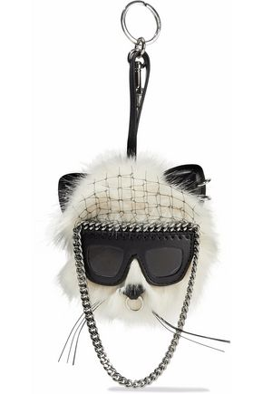 STELLA McCARTNEY Faux leather and fur keychain
