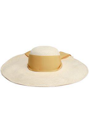 SENSI STUDIO Grosgrain-trimmed woven straw hat