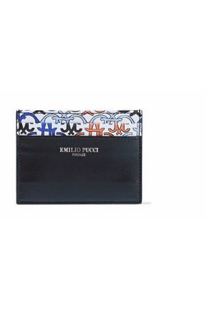 EMILIO PUCCI Smooth and printed textured-leather cardholder