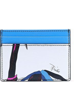 Woman Printed Textured-Leather Cardholder Azure
