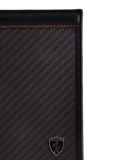 Scuderia Ferrari Online Store - Vertical leather and carbon fiber wallet - Yen Wallets