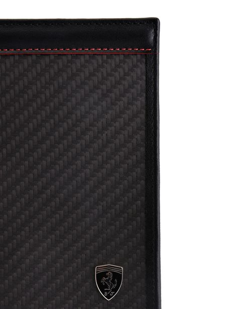 Scuderia Ferrari Online Store - Vertical leather and carbon fiber wallet - Yen Wallets