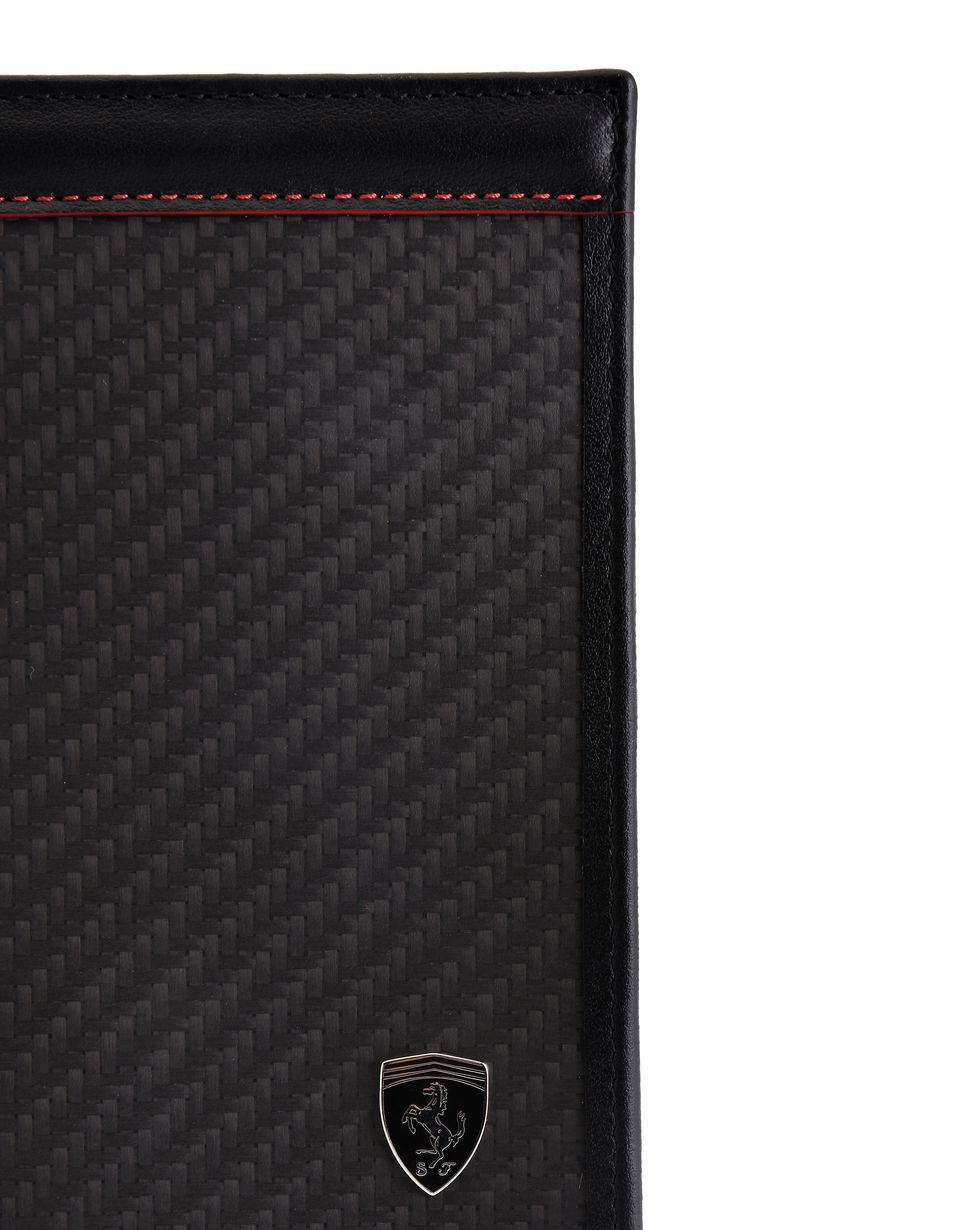 Scuderia Ferrari Online Store - Vertical leather and carbon fibre bifold wallet - Yen Wallets