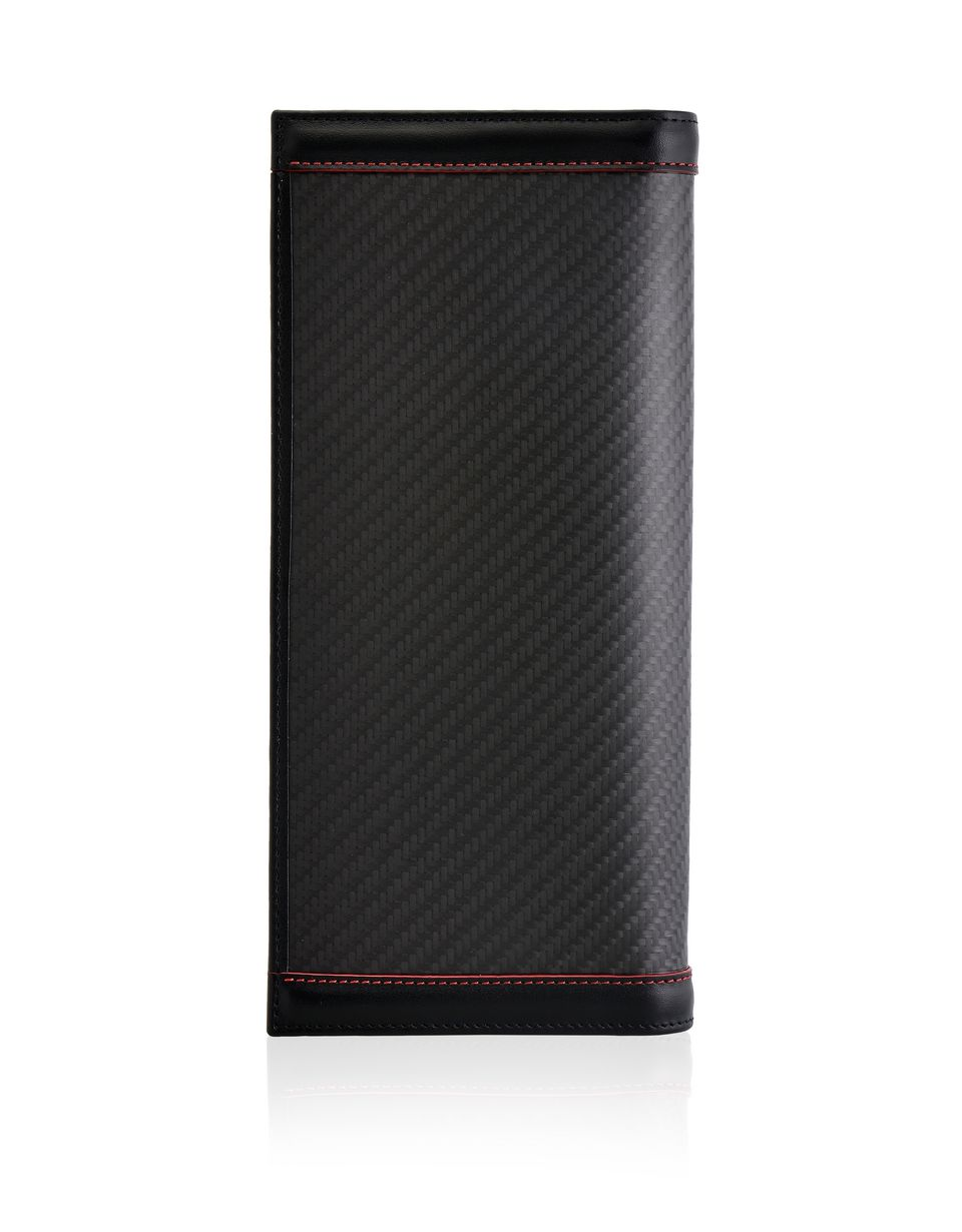 Scuderia Ferrari Online Store - Vertical leather and carbon fibre bifold wallet -