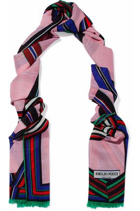 EMILIO PUCCI Fringed printed wool and silk-blend gauze scarf