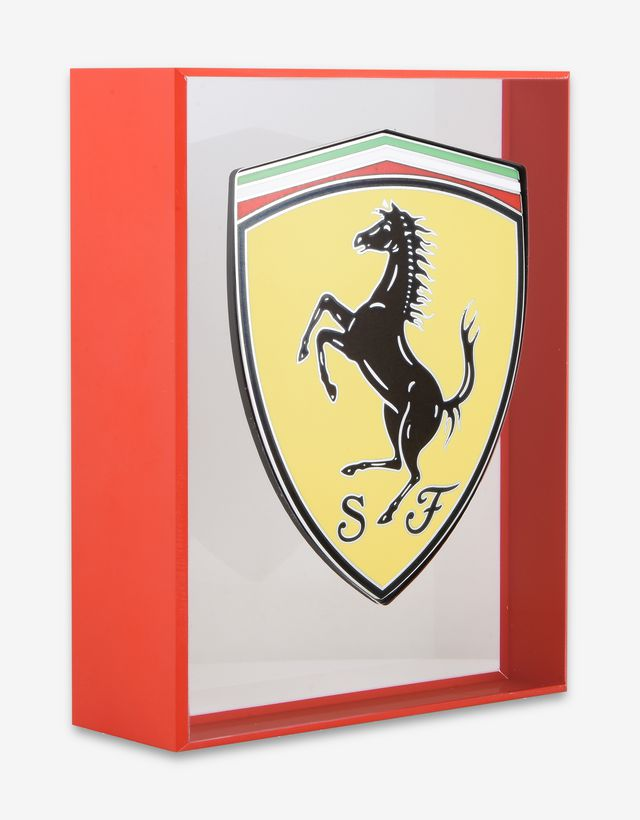 Scuderia Ferrari Online Store - Original torch-enamelled Ferrari GT Shield with hand-finished details and plexiglass support - Memorabilia GT