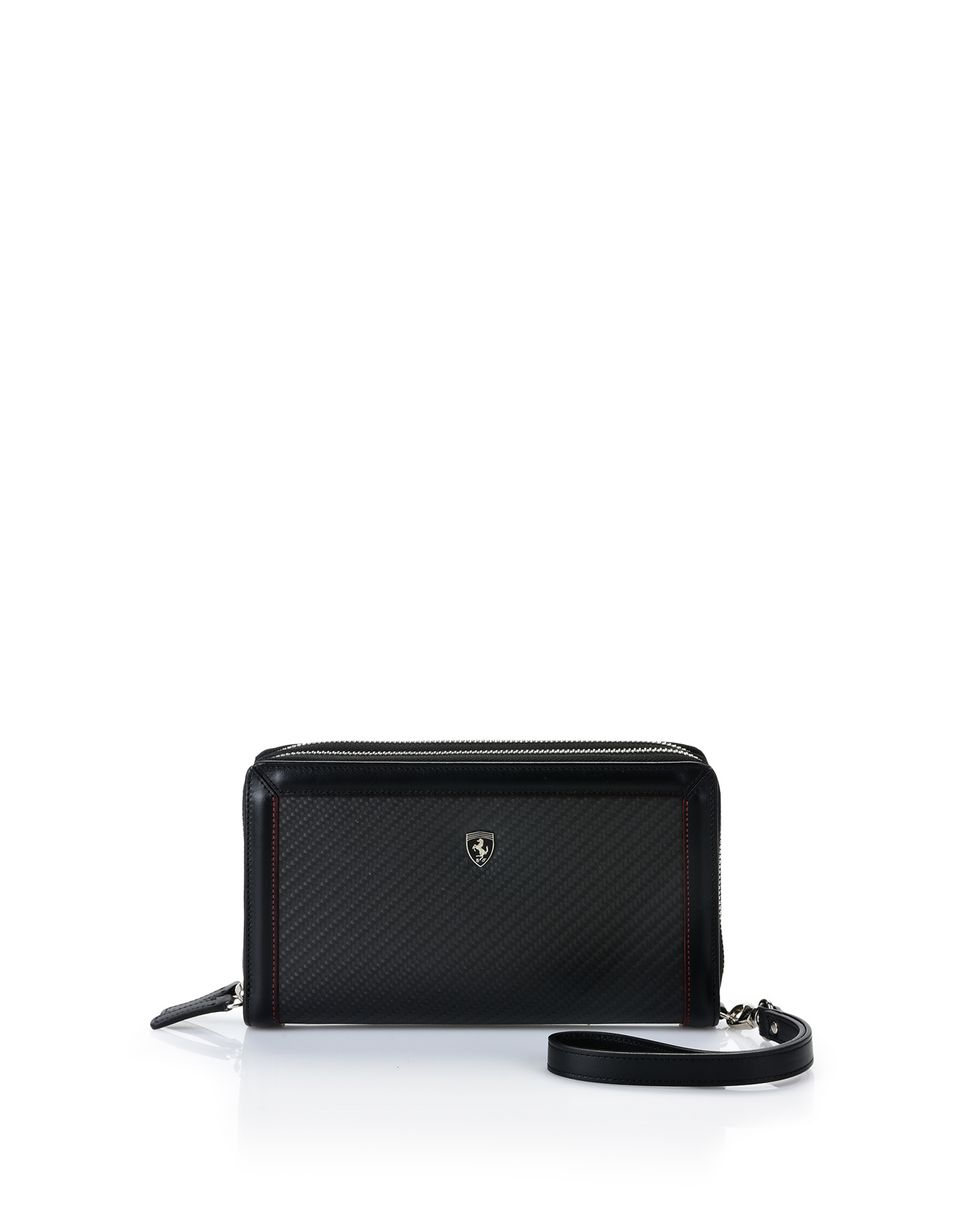 Scuderia Ferrari Online Store - Calfskin and carbon fiber clutch - Zip-around Wallets