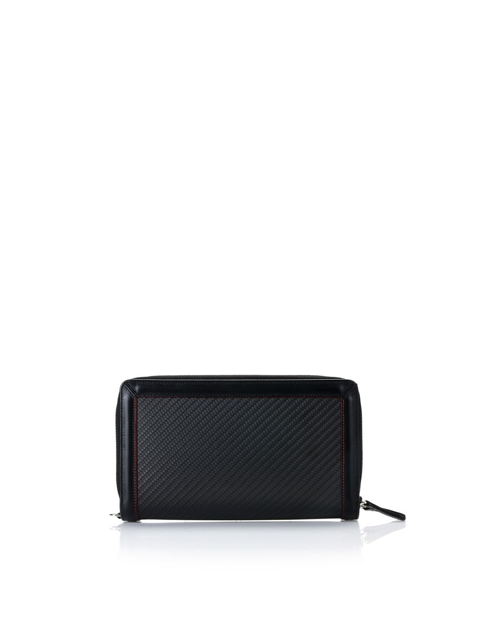 Scuderia Ferrari Online Store - Calf leather and carbon fibre clutch - Zip-around Wallets